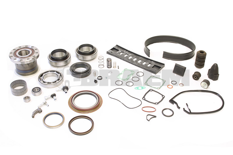 Bearing, rubber block, seal, feather
